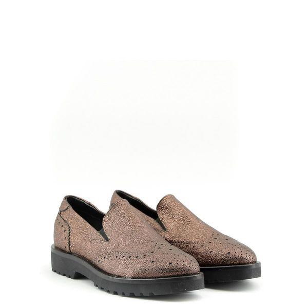 3b6013bc9e270 Made in Italia skórzane buty damskie pantofle lordsy brązowy 39 zdjęcie 12