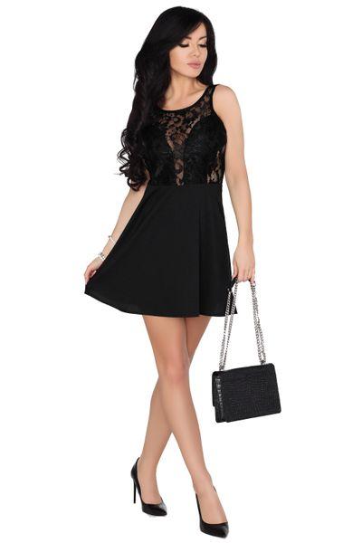 Koronkowa Sukienka przed kolano czarna bawełniana na imprezę XL zdjęcie 3