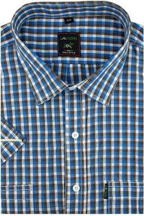 Duża Koszula Męska Laviino brązowa w kratkę na krótki rękaw duże rozmiary K925 7XL 51 182/188
