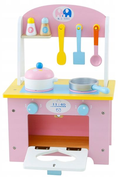 Kuchnia Drewniana Dla Dzieci Garnki Akcesoria Owoce Magnetyczne U46U zdjęcie 6
