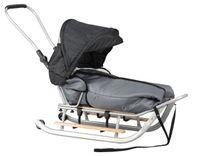 SANKI (srebrne) dla dzieci z budką + śpiwór + pchacz + podnóżki + kółk