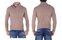 Beżowy modny sweter CIPO BAXX C-6360 L KOŁNIERZ