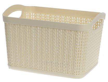 Koszyk kosz prostokątny organizer WILLOW 6,6 l kremowy ażurowy sweterkowy wzór