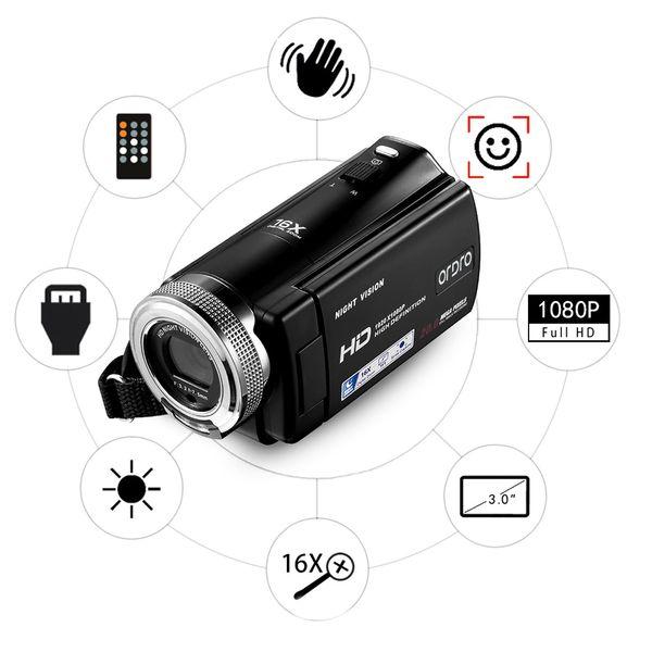 ORDRO DV-12 Kamera cyfrowa z pilotem Full HD 16x Zoom j. polski T237S zdjęcie 5