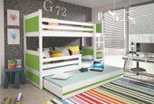 Łóżko meble dla dzieci drewniane Mateusz 190x80 piętrowe 3osobowe zdjęcie 7