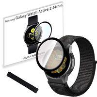 Pasek nylonowy opaska i szkło 3D do Samsung Galaxy Watch Active 2 44mm Black