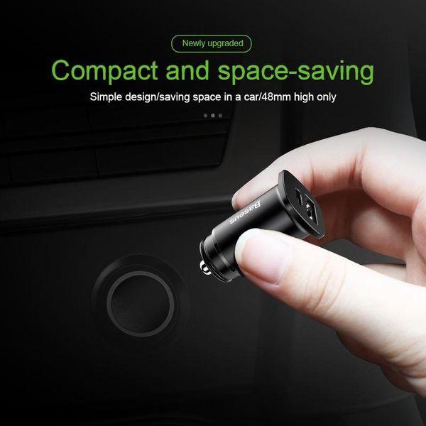 Baseus Square - Ładowarka samochodowa USB-A QC 4.0 + USB-C PD 3.0 30 W (czarny) zdjęcie 2