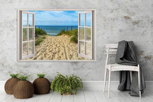 Obraz na płótnie - Canvas, okno - zejście na plażę 90x60 na Arena.pl