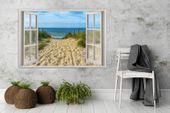 Obraz na płótnie - Canvas, okno - zejście na plażę 90x60 zdjęcie 2