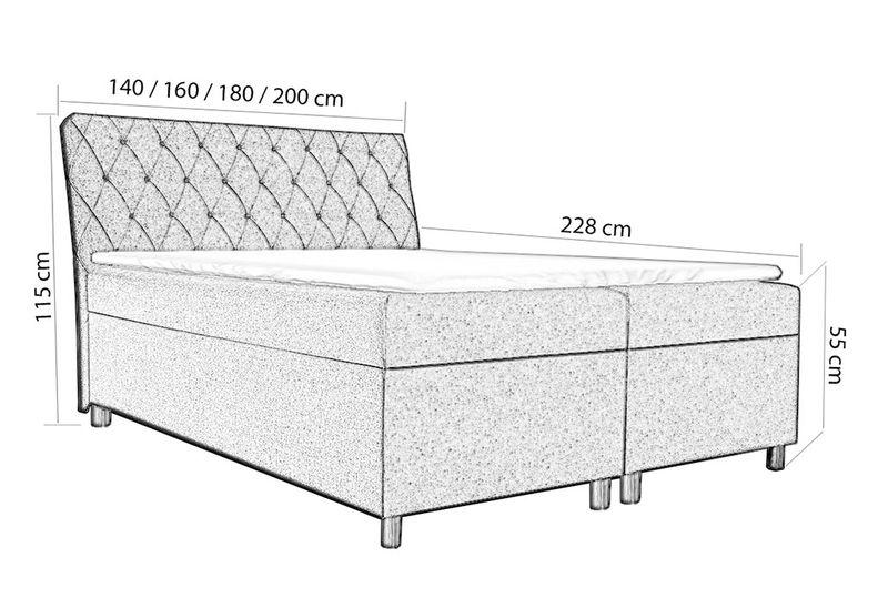 Łóżko tapicerowane kontynentalne 140x200 z materacem pojemnikiem zdjęcie 2