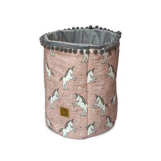Kosz na zabawki Jednorożce - pudrowy róż