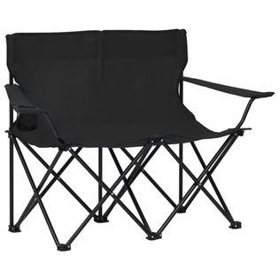 Lumarko 2-osobowe, składane krzesło turystyczne, stal i tkanina, czarne!