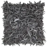 Poduszka shaggy, szara, 60x60 cm, skóra i bawełna