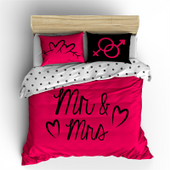 Pościel holenderska Nightlife Mr And Mrs Hot Pink 200x220