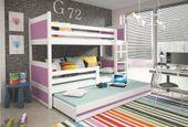 Łóżko łóżka dla dzieci meble Mateusz 190x80 piętrowe dla trójki dzieci zdjęcie 2