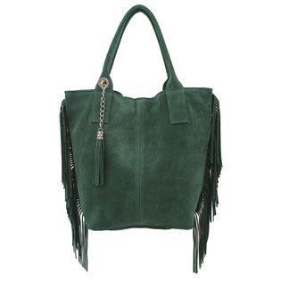 TOREBKA zamszowa damska shopper worek z frędzlami i saszetką V460 ciemna zielona
