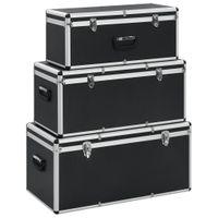 Skrzynie Do Przechowywania, 3 Szt., Czarne, Aluminiowe