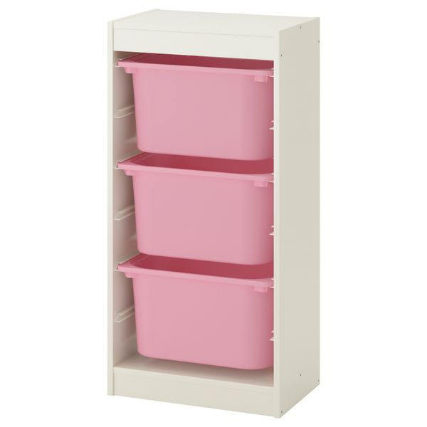 Ikea Trofast Regał Na Zabawki 3 Pojemniki Białyróżowy Arenapl