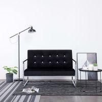 2-osobowa sofa z podłokietnikami czarna chrom i aksamit VidaXL