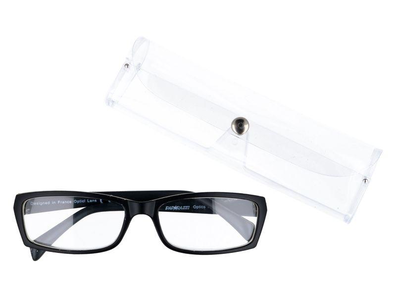 Prostokątne zastępcze okulary plusy czarne +1.00 zdjęcie 1