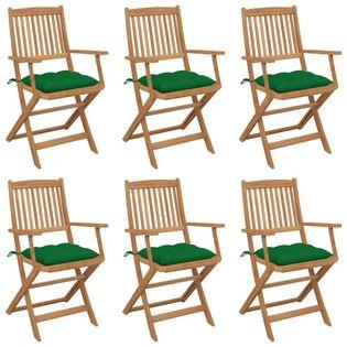 Lumarko Składane krzesła ogrodowe z poduszkami, 6 szt., drewno akacjowe!