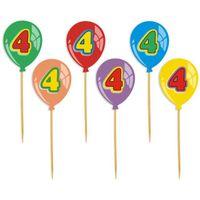 Dekoracja ozdoba piker na tort 4 urodziny baloniki