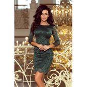 Sukienka koronkowa z ozdobnymi wykończeniami - ZIELONA jasna L