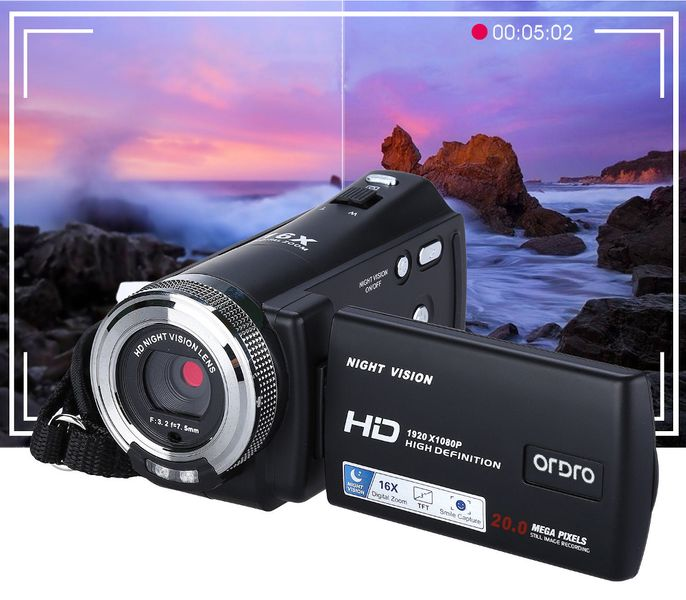 ORDRO DV-12 Kamera cyfrowa z pilotem Full HD 16x Zoom j. polski T237S zdjęcie 6