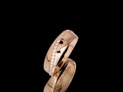 P686 Złoty pierścionek. Obrączka z cyrkoniami 585