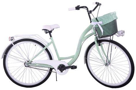 (K30) Rower miejski damski Kozbike 28 miętowo biały 3B