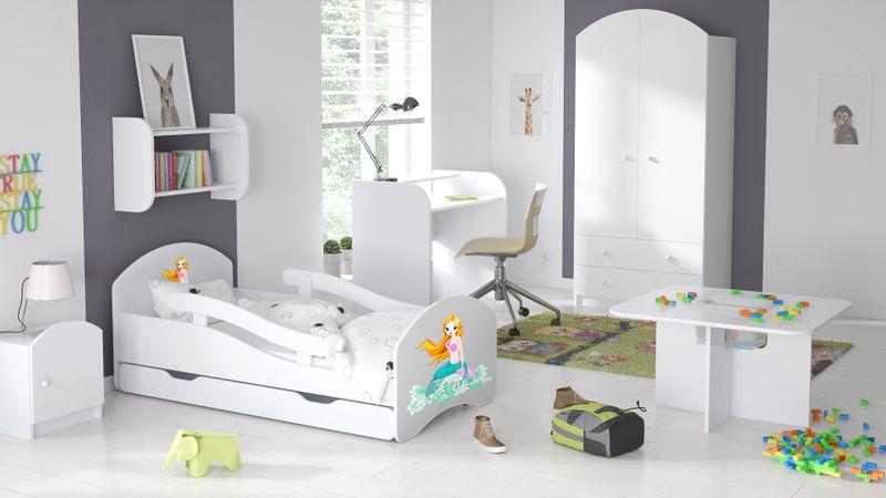 Łóżko dziecięce łóżeczko 140x70 białe szuflada materac dla dziecka zdjęcie 4