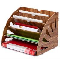 Drewniany Organizator Biurowy-Na  Dokumenty - Książki A-Brązowy