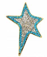 Broszka Gwiazda Cyrkonie Piękna Duża Niebieska