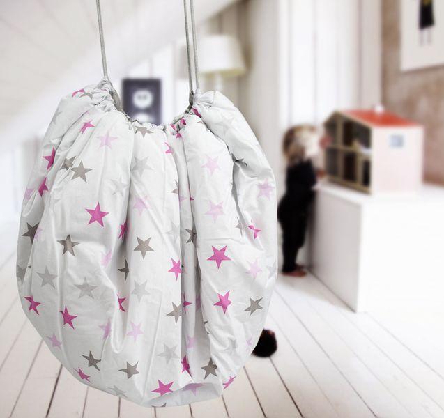 Mata do zabawy/worek na zabawki 2w1 szare/różowe gwiazdki 150 cm Color - Black zdjęcie 4