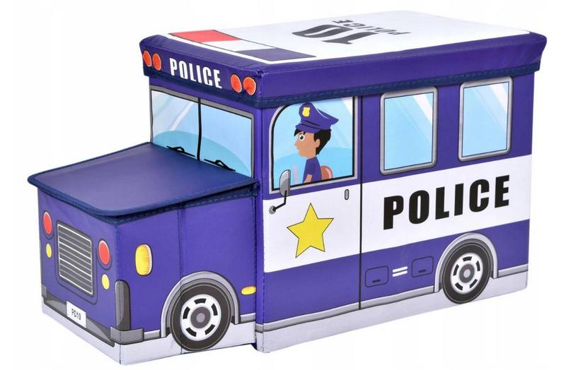 POJEMNIK POLICJA NA ZABAWKI PUFA DLA CHŁOPCA zdjęcie 1