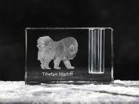 Mastif tybetański - kryształowy stojak na długopis z wizerunkiem psa, pamiątka, dekoracja, kolekcja.