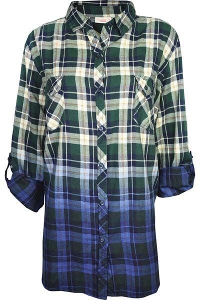 Koszula w Kratę, Ombre, Plus Size 48 4XL • Arena.pl  cYxWd