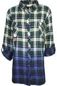 Koszula w Kratę, Ombre, Plus Size - 52 / 6XL