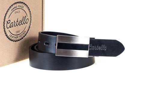 Pasek skórzany czarny, elegancki Cartello C-2035-1 Rozmiar 100