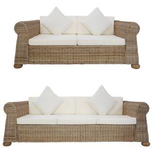 VidaXL 2-częściowy zestaw wypoczynkowy z poduszkami, naturalny rattan