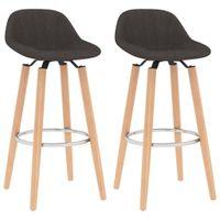Krzesła barowe, 2 szt., brązowe, tapicerowane tkaniną