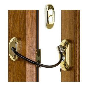 Blokada okienna ZŁOTA Zabezpieczenie okna dzieci Uchylenie kluczyk Lin