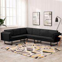 Sofa narożna, czarna, tapicerowana tkaniną