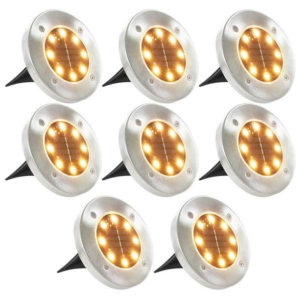 Solarne lampy gruntowe, 8 szt., ciepłe białe LED zdjęcie 1
