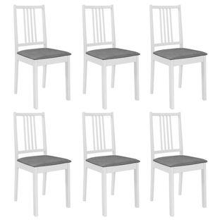 Lumarko Krzesła z poduszkami, 6 szt., białe, lite drewno;