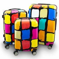 Set walizek podróżnych BERWIN PATCH na kółkach XL L M kolorowe