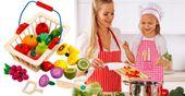 Kuchnia Drewniana Dla Dzieci Garnki Akcesoria Owoce Magnetyczne U46U zdjęcie 2