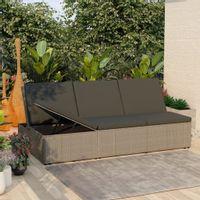 Lumarko Rozkładane łóżko ogrodowe z poduszką, polirattan, szary