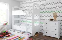 Łóżko piętrowe JACEK 180x80 + 2 materace piankowe + pojemna szuflada