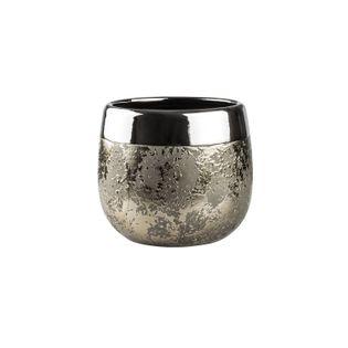 Doniczka Osłonka Ceramiczna MOON D 12 H 11 złota srebrna